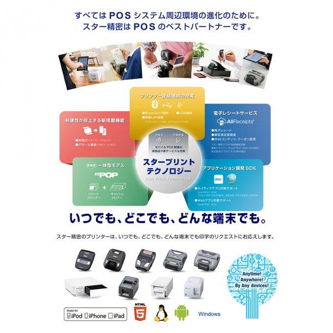 スター精密 据え置き型感熱式プリンター FVP10シリーズ FVP10UBI2-24OF GRY JP USB Bluetooth接続 グレーの画像