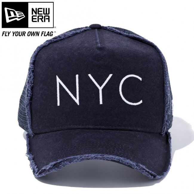 ニューエラ 940キャップ スナップバック ディーフレームトラッカー ダメージ ニューヨークシティ NYC ネイビー ネイビーメッシュ ネイビー スノーホワイト ミッドナイトネイビーの画像