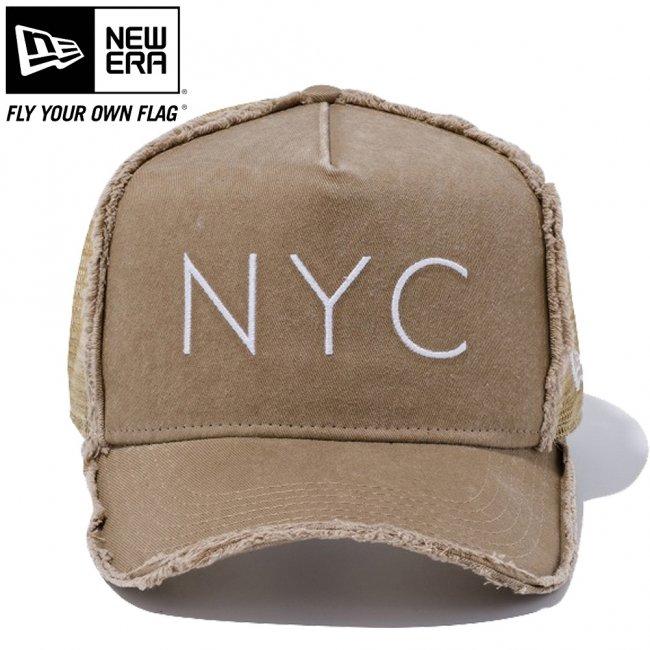 ニューエラ 940キャップ スナップバック ディーフレームトラッカー ダメージ ニューヨークシティ NYC カーキ ブロンズメッシュ カーキ スノーホワイト スノーホワイト ベージュの画像
