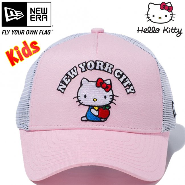 ハローキティ×ニューエラ 940キッズキャップ エーフレームトラッカー ニューヨークシティ NYC ピンク ホワイトメッシュ ピンク ブラック スノーホワイト ラディアントレッド オンブレゴールドの画像