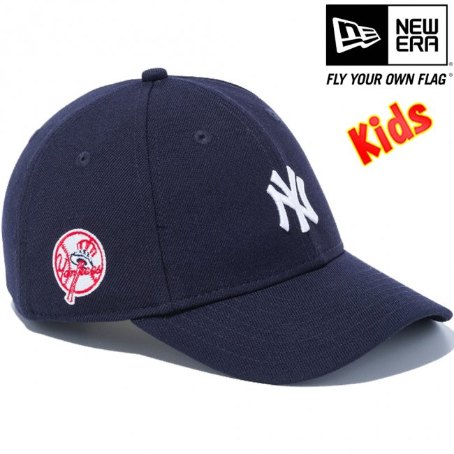 57ae02dd20846 ニューエラ 940キッズキャップ MLBカスタム ニューヨークヤンキース レトロ サイドロゴ ブラック スノーホワイトの画像 ...