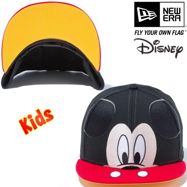 ディズニー×ニューエラ 950キッズ スナップバック キャップ ミッキーマウス ビッグフェイス ブラック スカーレット ブラック スノーホワイト ライトアプリコット スノーホワイトの画像