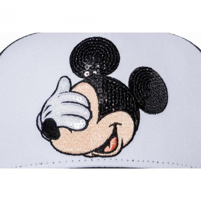 ディズニー×ニューエラ 940キッズキャップ スナップバック エーフレームトラッカー ミッキーマウス シークインド ホワイト ブラックメッシュ ブラック ホワイト ピーチ ライトアプリコット ホワイトの画像