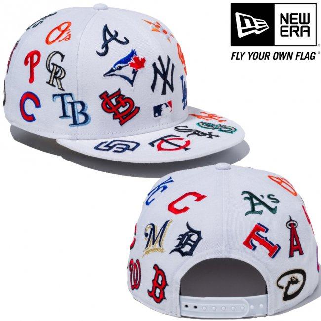 ニューエラ 950キャップ スナップバック MLBチームロゴ オールオーバー ホワイト チームカラー ブラックの画像