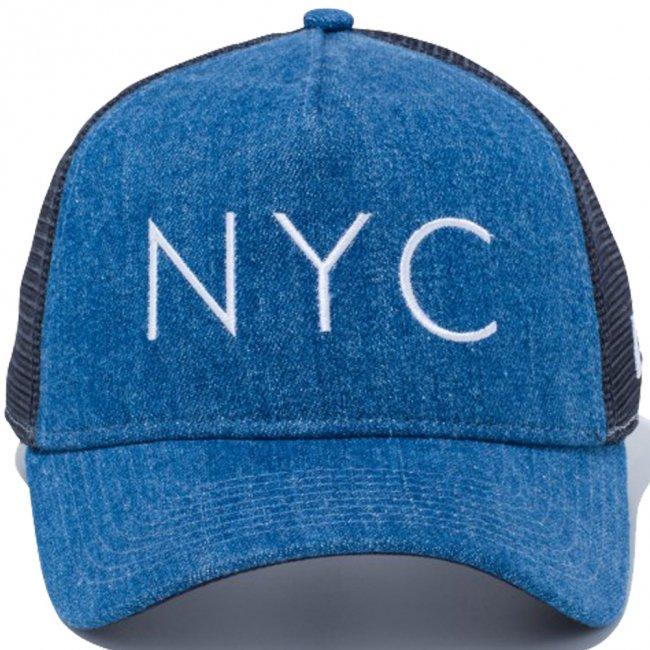 ニューエラ 940 スナップバック キャップ エーフレームトラッカー ジャパンデニム ニューヨークシティ NYC ウォッシュドデニム ネイビーメッシュ スノーホワイトの画像