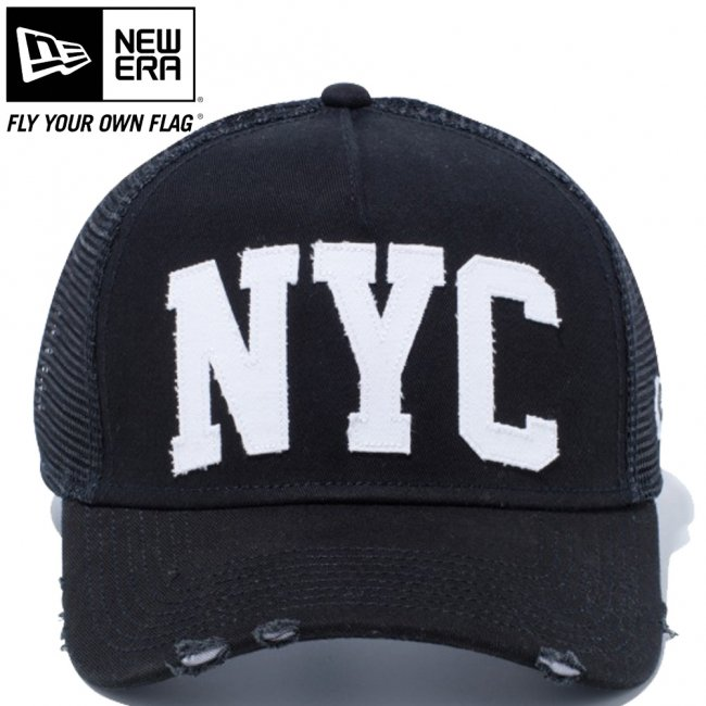 ニューエラ 940 スナップバック キャップ エーフレームトラッカー ダメージ ニューヨークシティ NYC ブラック ブラックメッシュ ホワイト スノーホワイト ブラックの画像