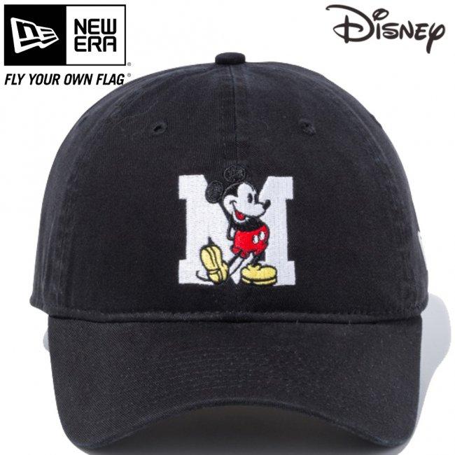 ディズニー×ニューエラ 9THIRTY キャップ クローズストラップ ミッキーマウス イニシャル ブラック キャラクターカラー スノーホワイトの画像