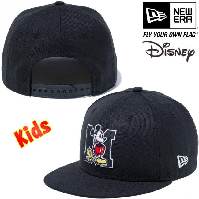 ディズニー×ニューエラ 950 スナップバック キッズ キャップ ミッキーマウス イニシャル ブラック キャラクターカラー スノーホワイトの画像