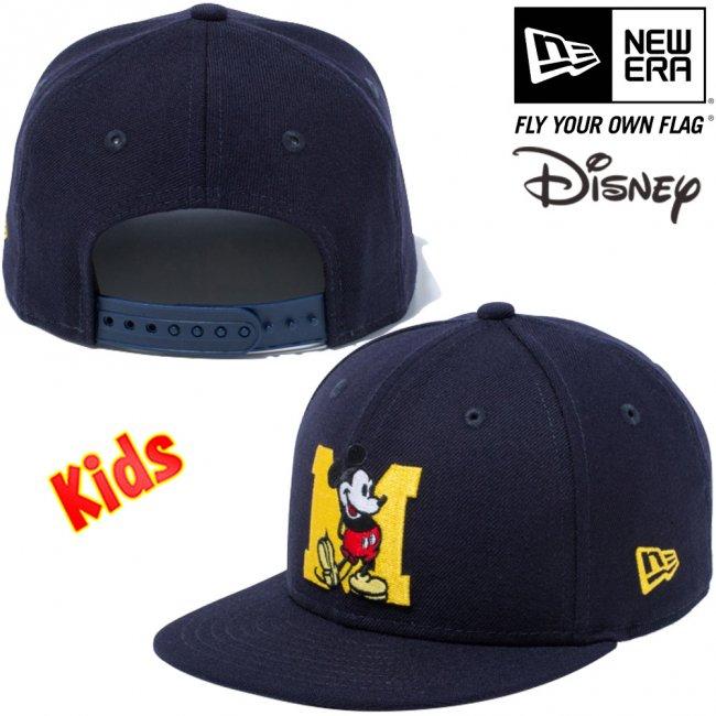 ディズニー×ニューエラ 950チャイルド スナップバック キャップ ミッキーマウス イニシャル ネイビー キャラクターカラー マニラの画像