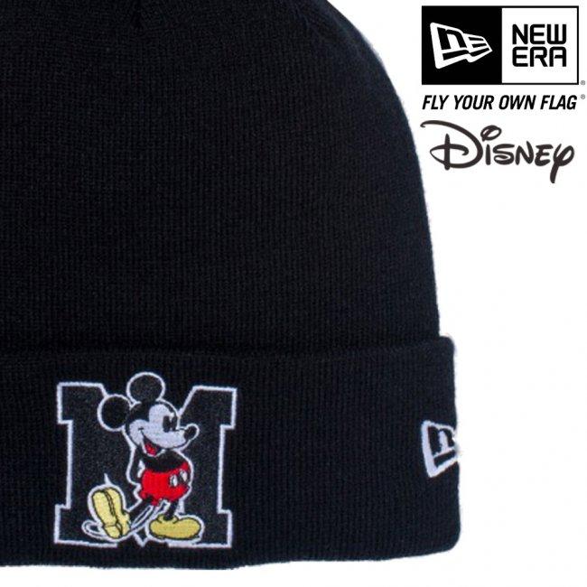 ディズニー×ニューエラ ニットキャップ ベーシックカフニット ミッキーマウス イニシャル ブラック キャラクターカラー スノーホワイトの画像