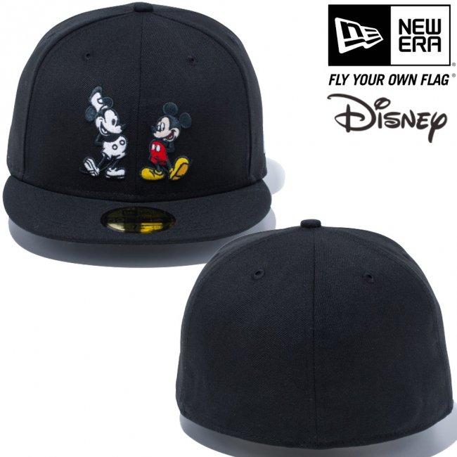 ディズニー×ニューエラ 5950キャップ マルチロゴ ミッキーマウス ブラック キャラクターカラー スノーホワイトの画像