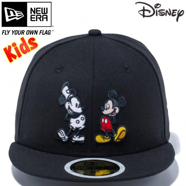 ディズニー×ニューエラ 5950キッズ キャップ マルチロゴ ミッキーマウス ブラック キャラクターカラー スノーホワイトの画像