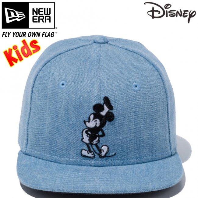 ディズニー×ニューエラ 950チャイルド スナップバック キャップ ミッキーマウス ウォッシュドデニム キャラクターカラー スノーホワイトの画像