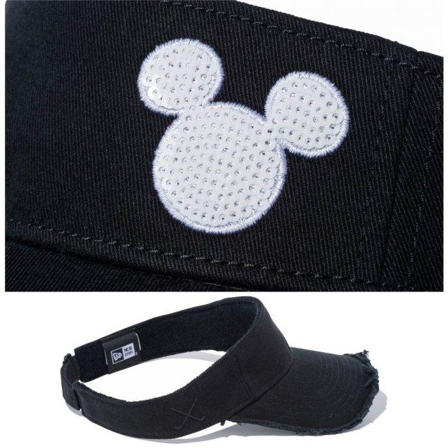 ディズニー×ニューエラ サンバイザー ゴルフ シークインド ミッキーマウス ブラック ホワイト スノーホワイトの画像