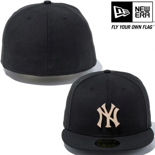 ニューエラ 5950キャップ スペシャルロゴ ラインストーン ニューヨークヤンキース ブラック ゴールド ブラックの画像