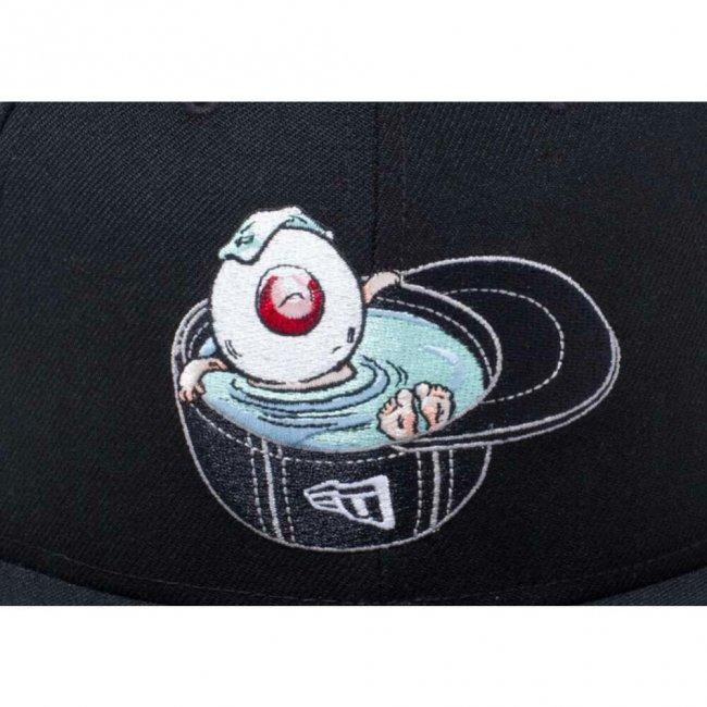 ゲゲゲの鬼太郎×ニューエラ 950 スナップバック キャップ 目玉おやじ ブラック オフィシャルカラー スノーホワイトの画像