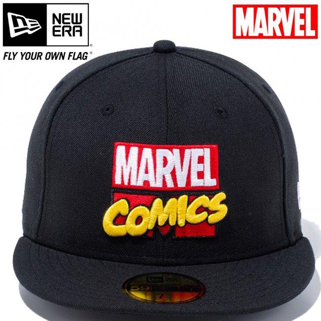 マーベル×ニューエラ 5950キャップ マルチロゴ マーベル・コミックロゴ ブラック マルチカラー スノーホワイトの画像