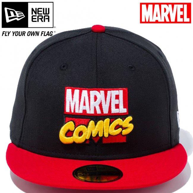 マーベル×ニューエラ 5950キャップ ツートーンボディー マーベル・コミックロゴ ブラック スカーレット マルチカラー スノーホワイトの画像