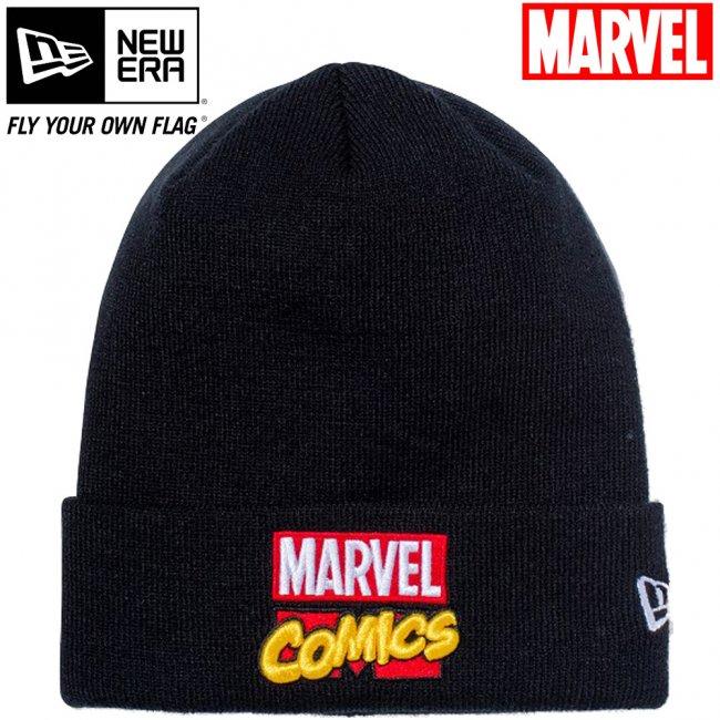 マーベル×ニューエラ ニットキャップ ベーシックカフニット マーベル・コミックロゴ ブラック マルチカラー スノーホワイトの画像