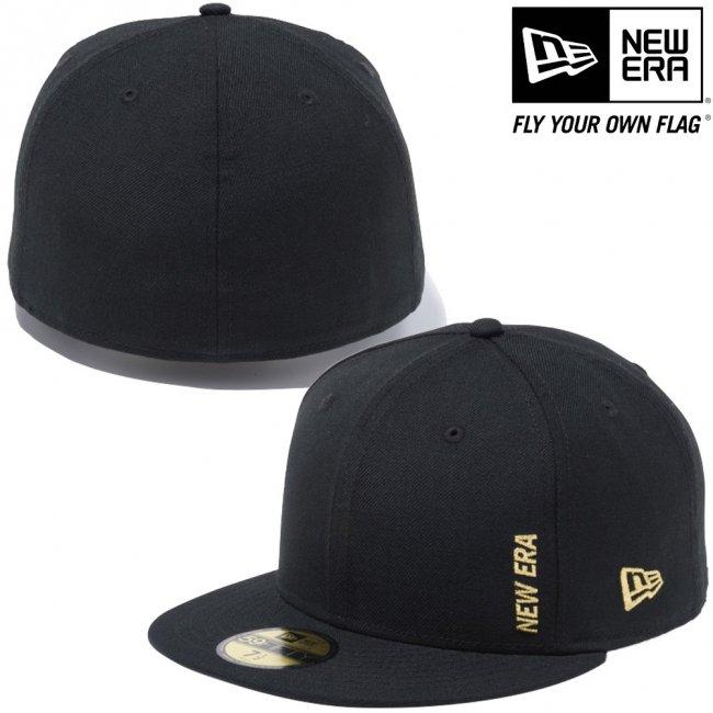 ニューエラ 5950キャップ ゴールドロゴ エッセンシャル ミニロゴ ブラック メタリックゴールドの画像