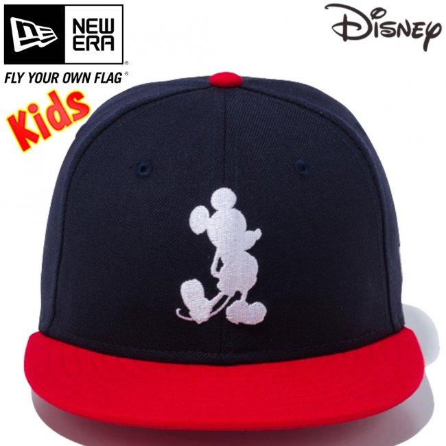 ディズニー×ニューエラ 950 スナップバック キッズ キャップ ミッキーマウス シルエット ネイビー スカーレット スノーホワイトの画像