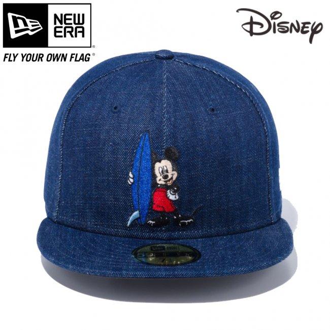 ディズニー×ニューエラ 5950キャップ マルチロゴ ミッキーマウス サーフィン インディゴデニム オフィシャルカラー スノーホワイトの画像