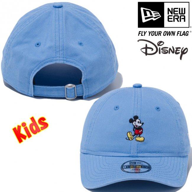 ディズニー×ニューエラ 920キッズキャップ クローズストラップ スタンディング ミッキーマウス ミニ スカイブルー オフィシャルカラー スノーホワイトの画像