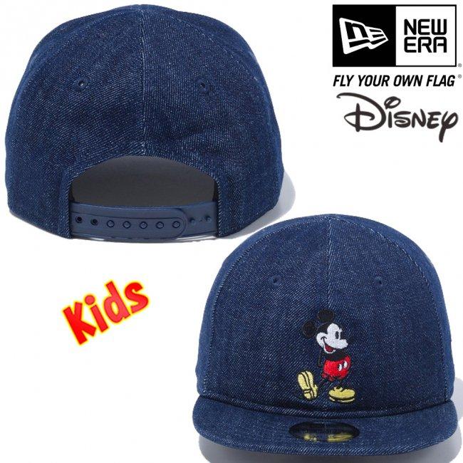 ディズニー×ニューエラ マイファースト 950 スナップバック キッズ キャップ スタンディング ミッキーマウス インディゴデニム オフィシャルカラー スノーホワイトの画像