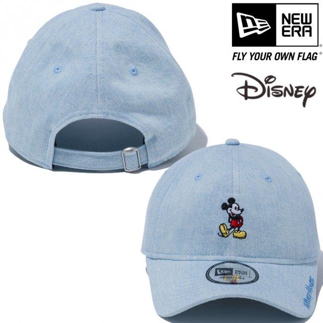 ディズニー×ニューエラ 930キャップ クローズストラップ スタンディング ミッキーマウス ミニ ウォッシュドデニム オフィシャルカラー スノーホワイトの画像