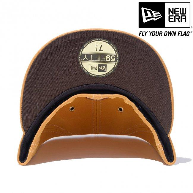 ニューエラ 5950キャップ ブラウンロゴ シンセティックヌバック ニューヨークヤンキース イエローヌバック ブラウンの画像