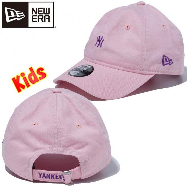 ニューエラ 920 キッズキャップ クローズストラップ リア ストラップ エンブロイダリー ニューヨークヤンキース ピンク パープルの画像