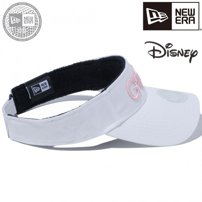 ディズニー×ニューエラ サンバイザー ゴルフ ミッキーマウス ホワイト ピンクの画像
