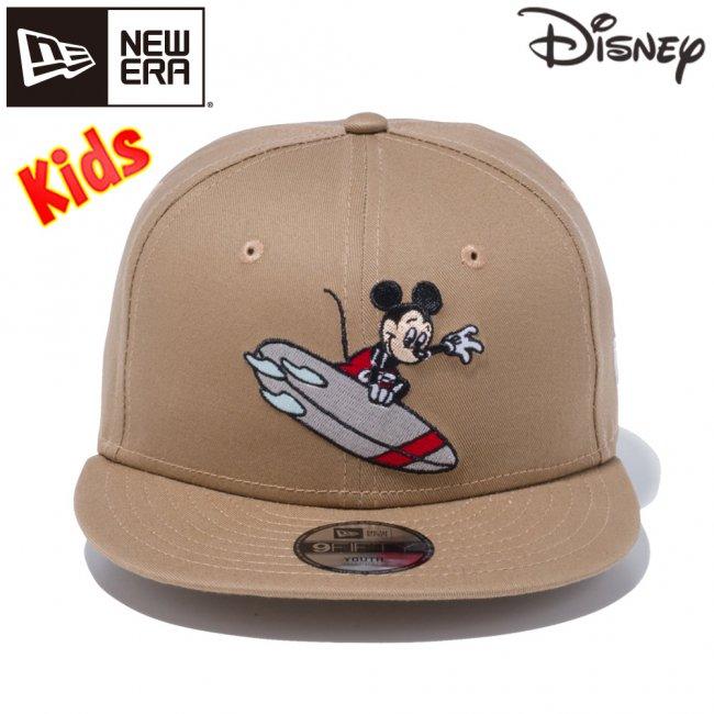 ディズニー×ニューエラ 950 スナップバック キッズ キャップ ミッキーマウス サーフィン カーキ マルチカラー スノーホワイトの画像