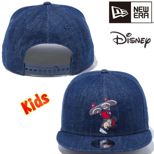 ディズニー×ニューエラ 950 スナップバック キッズ キャップ ミッキーマウス スケートボード インディゴデニム マルチカラー スノーホワイトの画像