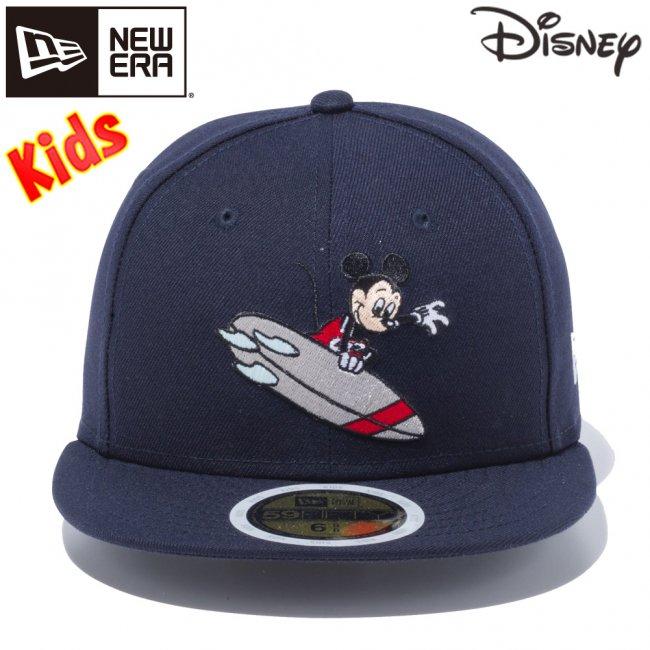 ディズニー×ニューエラ 5950キッズ キャップ マルチロゴ ミッキーマウス サーフィン ネイビー マルチカラー スノーホワイトの画像