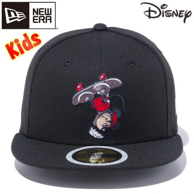 ディズニー×ニューエラ 5950キッズ キャップ マルチロゴ ミッキーマウス スケートボード ブラック マルチカラー スノーホワイトの画像
