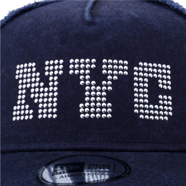 ニューエラ 940 スナップバック キャップ エーフレームトラッカー NYC ネイビー ネイビーメッシュ シルバースタッズ スノーホワイト ミッドナイトネイビーの画像