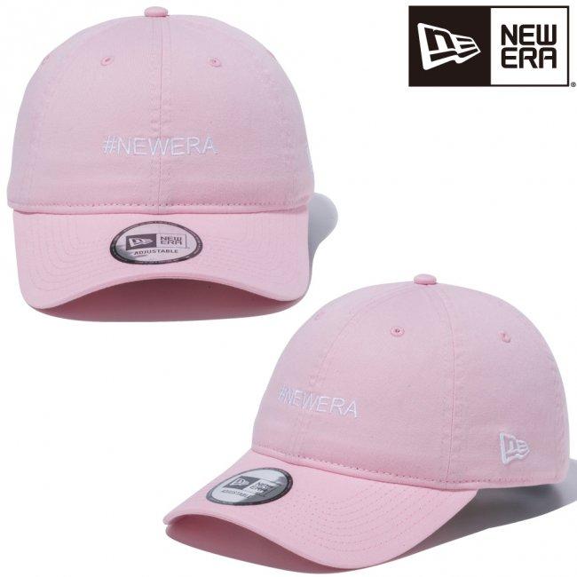 ニューエラ 930キャップ クローズストラップ ハッシュタグ ニューエラ ロゴ ピンク スノーホワイトの画像