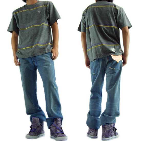 【30%OFF】【SALE】 ニューエラ S/S Tシャツ ストライプ グレーマール/イエロー/ダークメロディ/ホワイトの画像