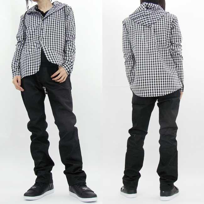 フルライフ フーディー デザイン シャツ ブラック チェックの画像