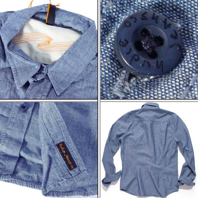 ヌーディージーンズ L/Sフィッテッドシャツ デニムの画像