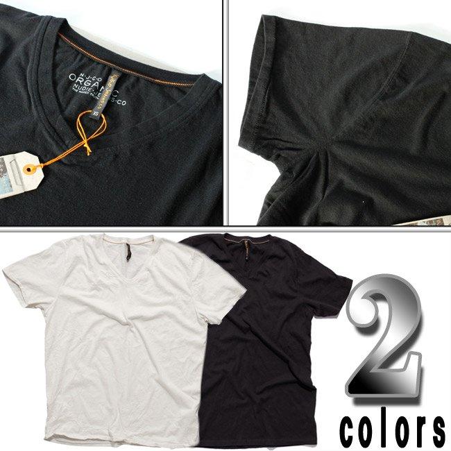 ヌーディージーンズ S/S VネックTシャツ ブラックの画像