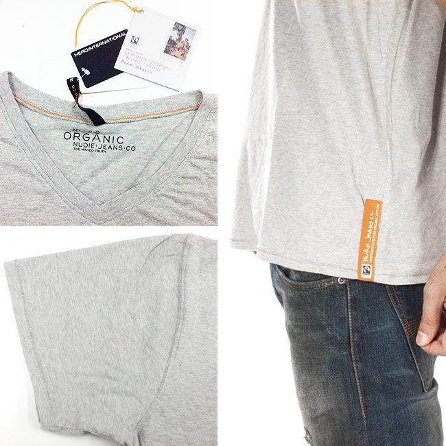 ヌーディージーンズ S/S VネックTシャツ グレイメランジの画像