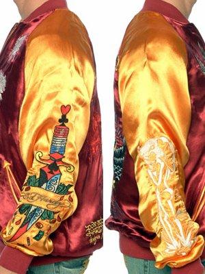 【SALE】エドハーディー スーベニアジャケット フェニックス バーガンディー/ゴールドの画像