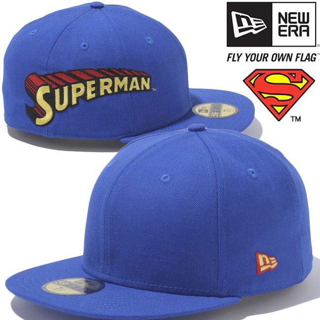 スーパーマン×ニューエラ 5950キャップ サイドロゴ マルチ ブライトロイヤル ブラック ラディアントレッド