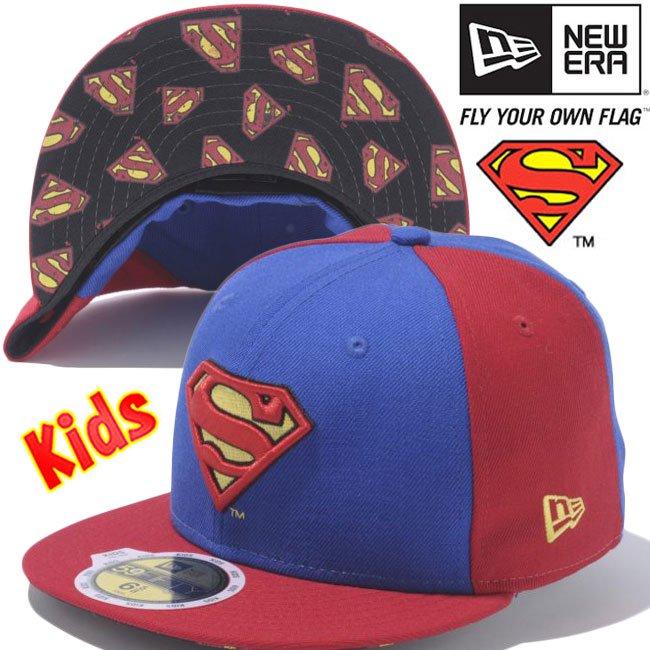 スーパーマン×ニューエラ 5950キッズキャップ アンダーバイザー スーパーマンロゴ ブライトロイヤル