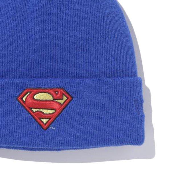 スーパーマン×ニューエラ ニットキャップ ベーシックカフニット スーパーマンロゴ ロイヤル ブラックの画像