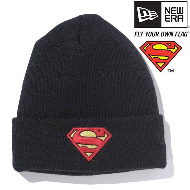 スーパーマン×ニューエラ ニットキャップ ベーシックカフニット スーパーマンロゴ ブラック