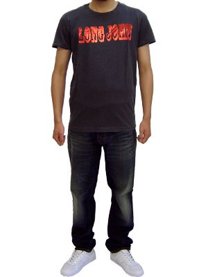ヌーディージーンズ フリッツ ロング ジョン S/S Tシャツ ブラックの画像