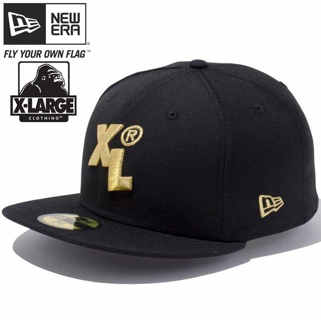 エクストララージ(R)×ニューエラ 5950キャップ ゴールドロゴ XL ブラック メタリックゴールド
